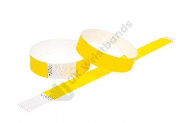 """100 Premium Yellow Tyvek Wristbands 3/4"""""""