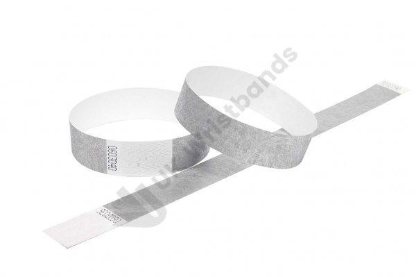 "100 Premium Silver Tyvek Wristbands 3/4"""