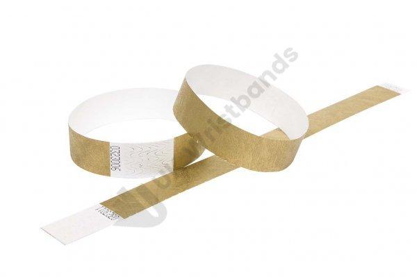 "100 Premium Gold Tyvek Wristbands 3/4"""