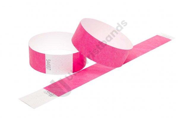 100 Premium Neon Pink Tyvek Wristbands