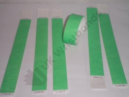 "Premium Neon Green Tyvek Wristbands 3/4"""