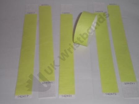 Premium Neon Yellow Tyvek Wristbands 3/4""