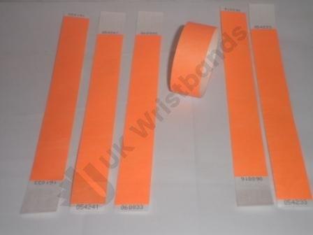 "Premium Neon Orange Tyvek Wristbands 3/4"""